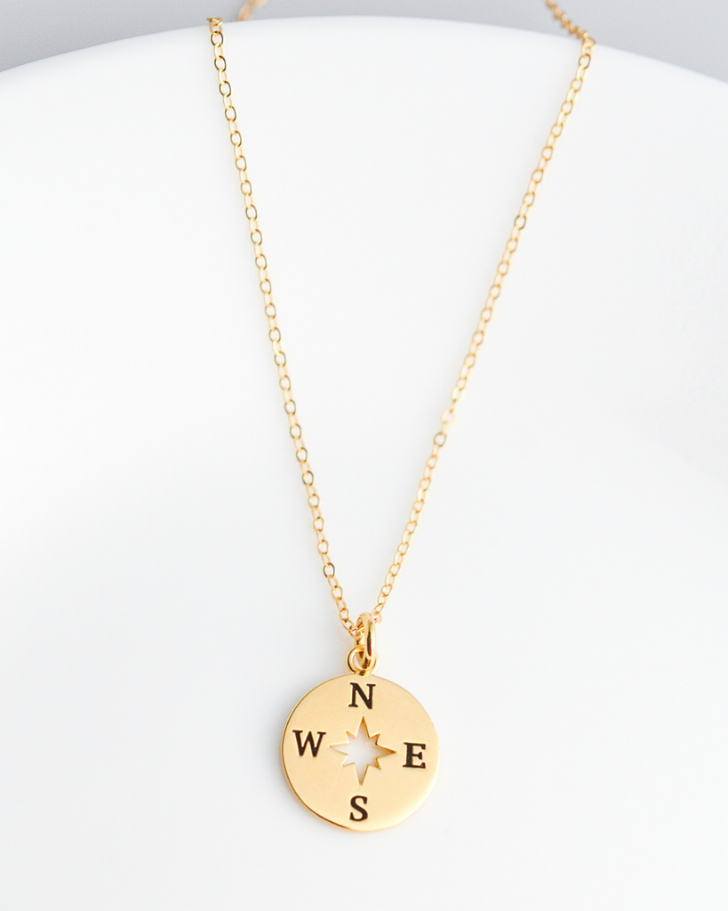 Joy in the Journey Solid Compass Necklace