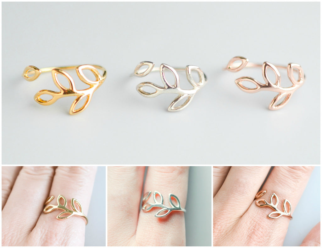 Sterling Silver Leaf Ring for Women - Rose Gold Nature Inspired Dainty Ring