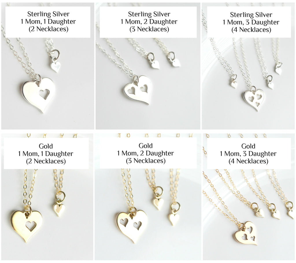Mom and Daughter Silver Necklaces Set