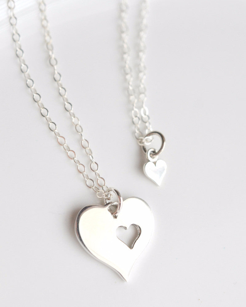 Mom and Daughter Silver Necklaces Set (1 Mom/1 Daughter)