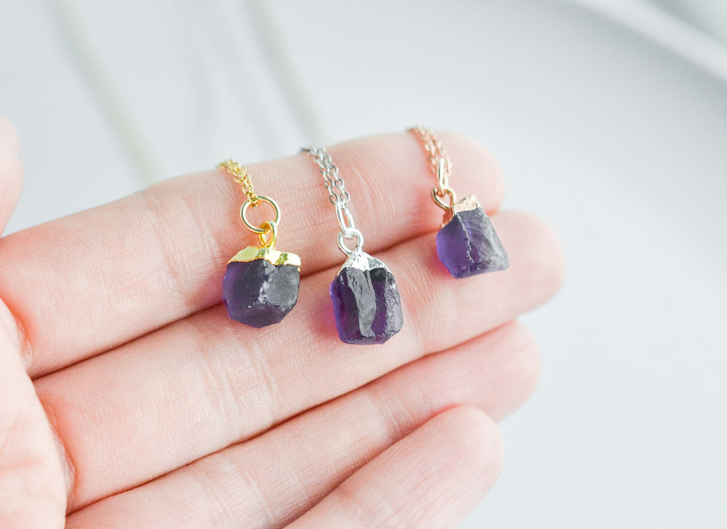 Raw Amethyst Gemstone Necklace