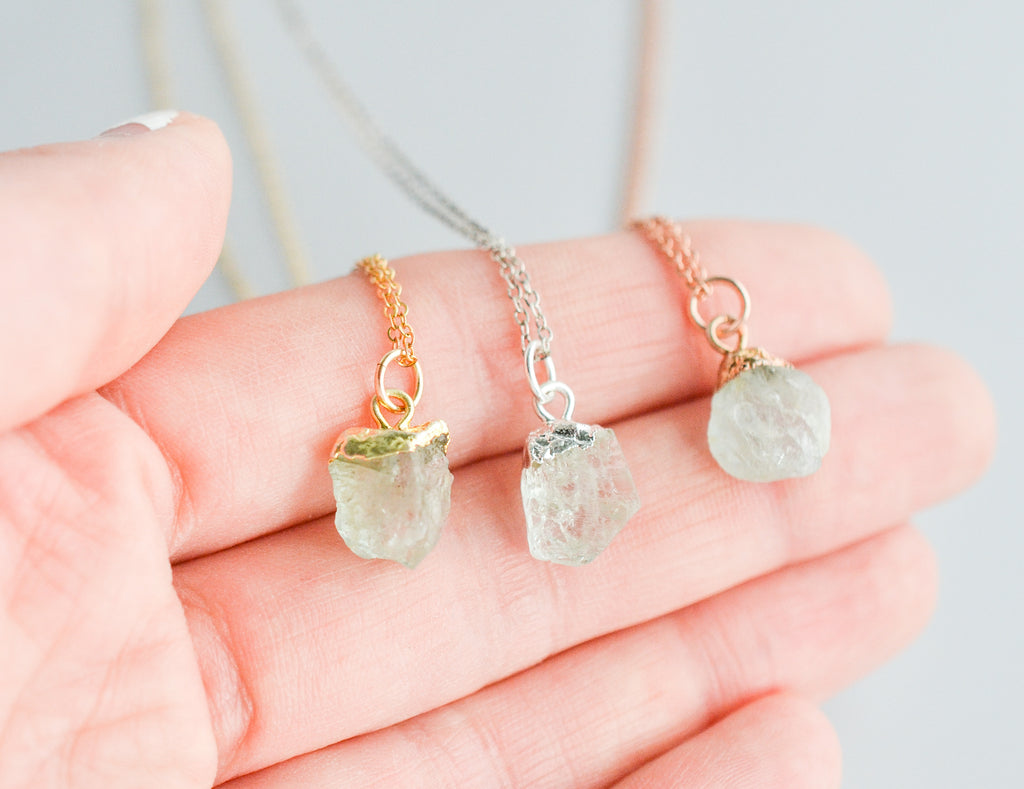 Raw Aquamarine Gemstone Necklace