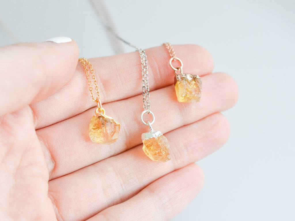 Raw Citrine Gemstone Necklace