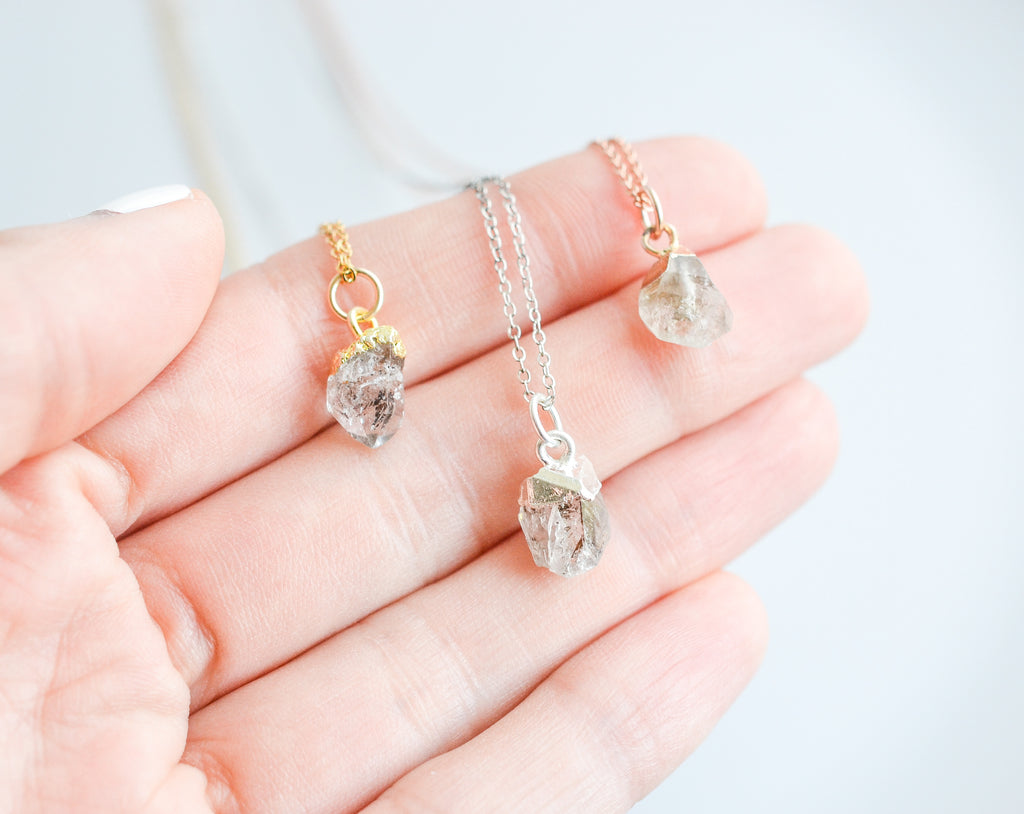 Raw Crystal Quartz Gemstone Necklace
