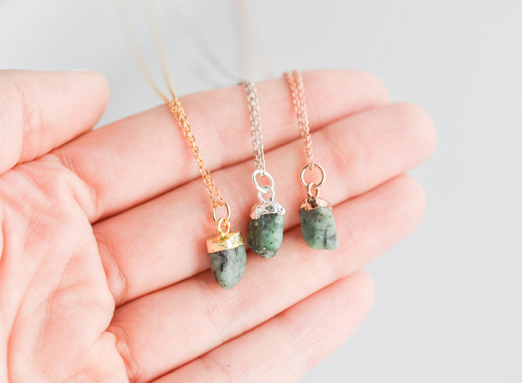 Raw Emerald Gemstone Necklace