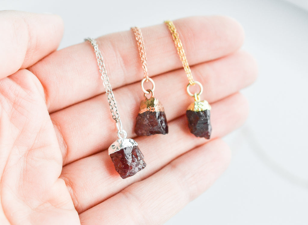 Raw Garnet Gemstone Necklace