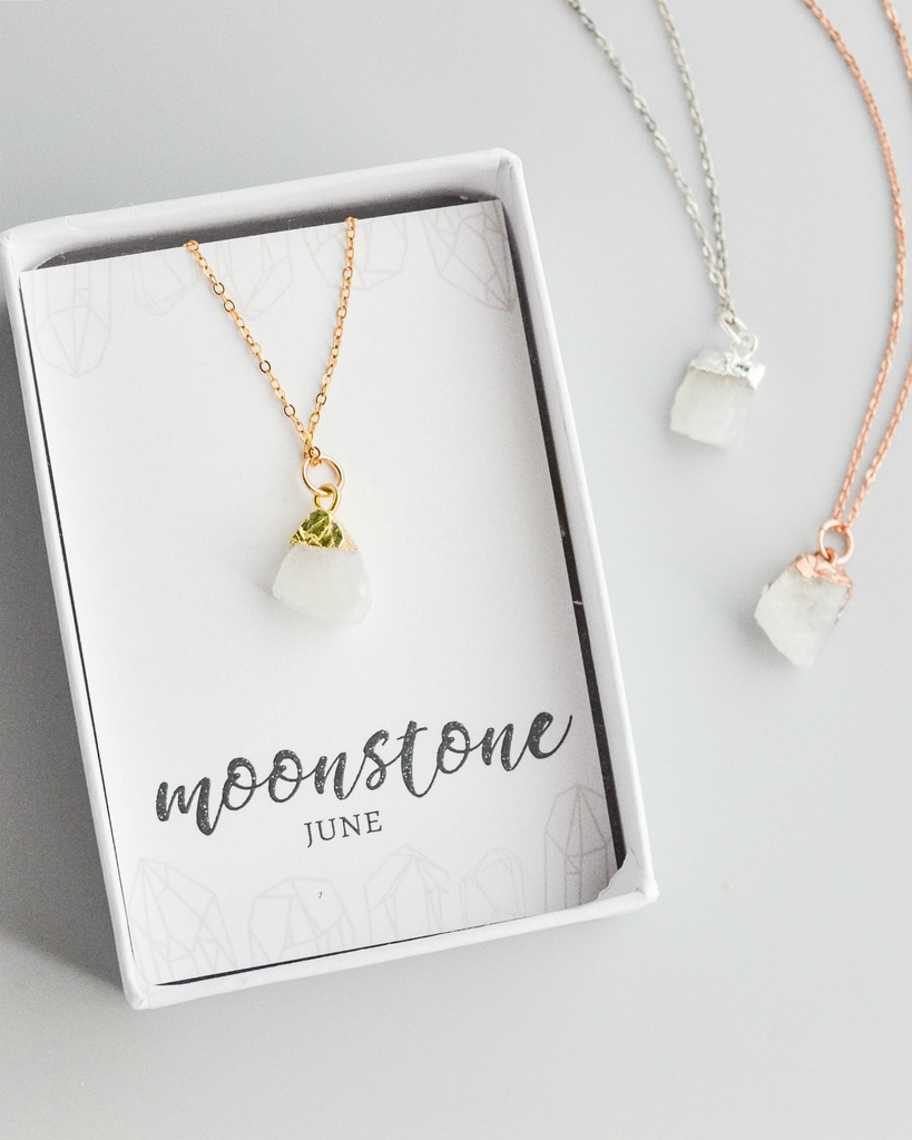 Raw Moonstone Gemstone Necklace