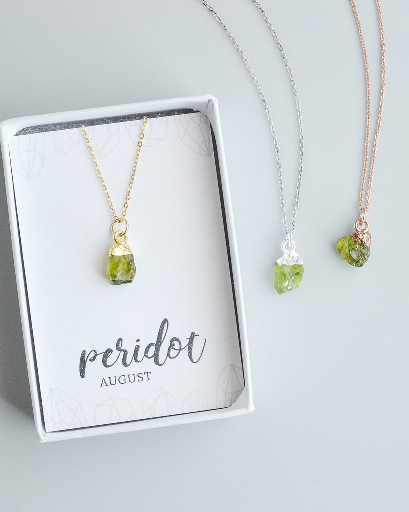 Raw Peridot Gemstone Necklace