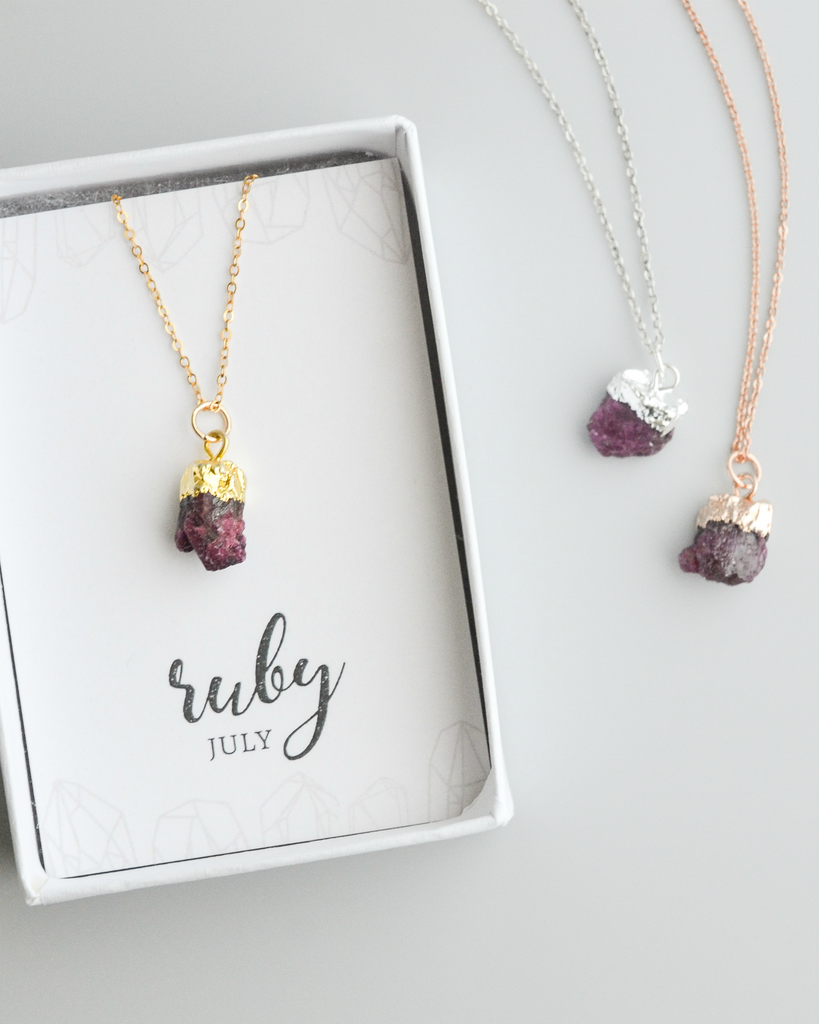 Raw Ruby Gemstone Necklace