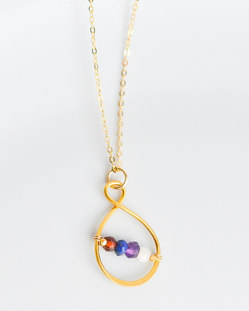 Sister Small Infinity Birthstone Necklace
