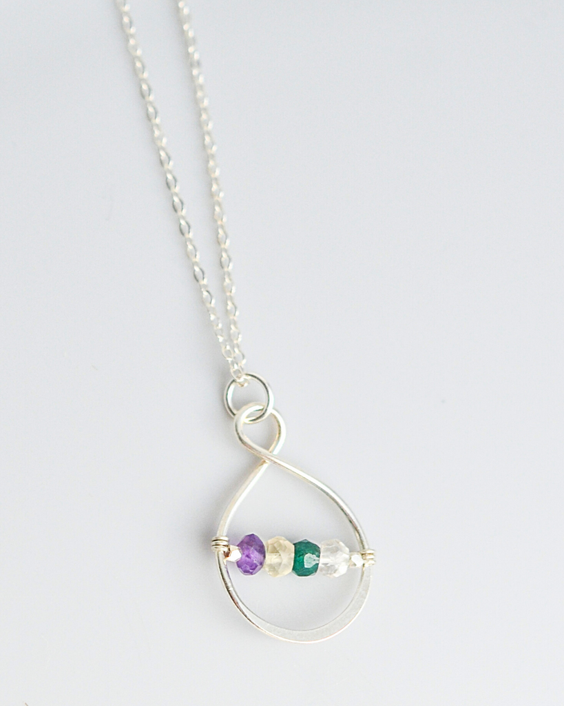 Mother's Small Infinity Birthstone Necklace
