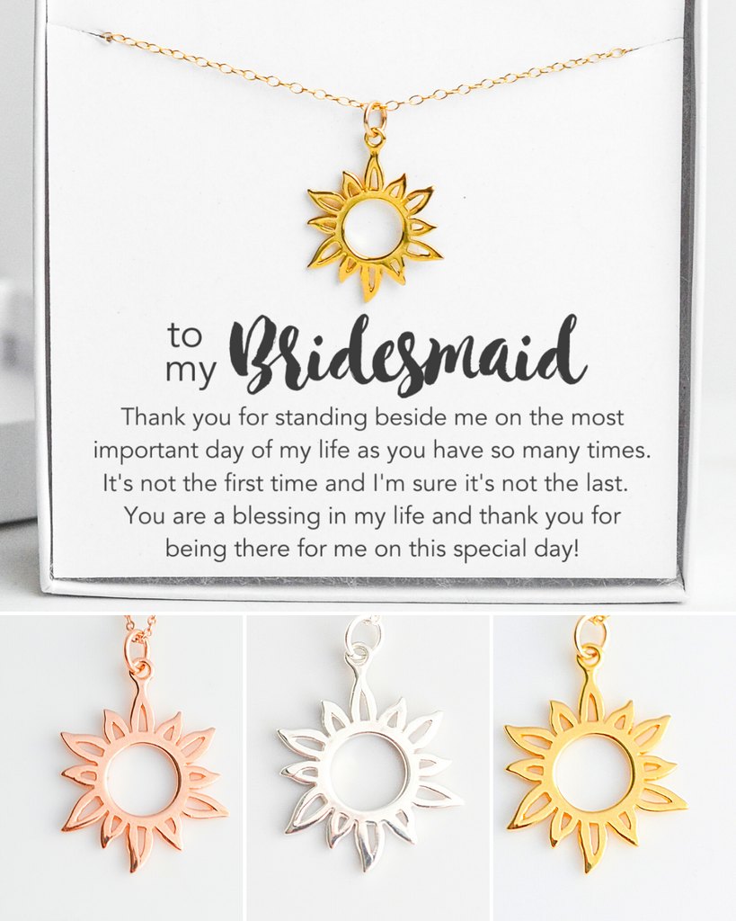 Bridesmaid Sun Necklace
