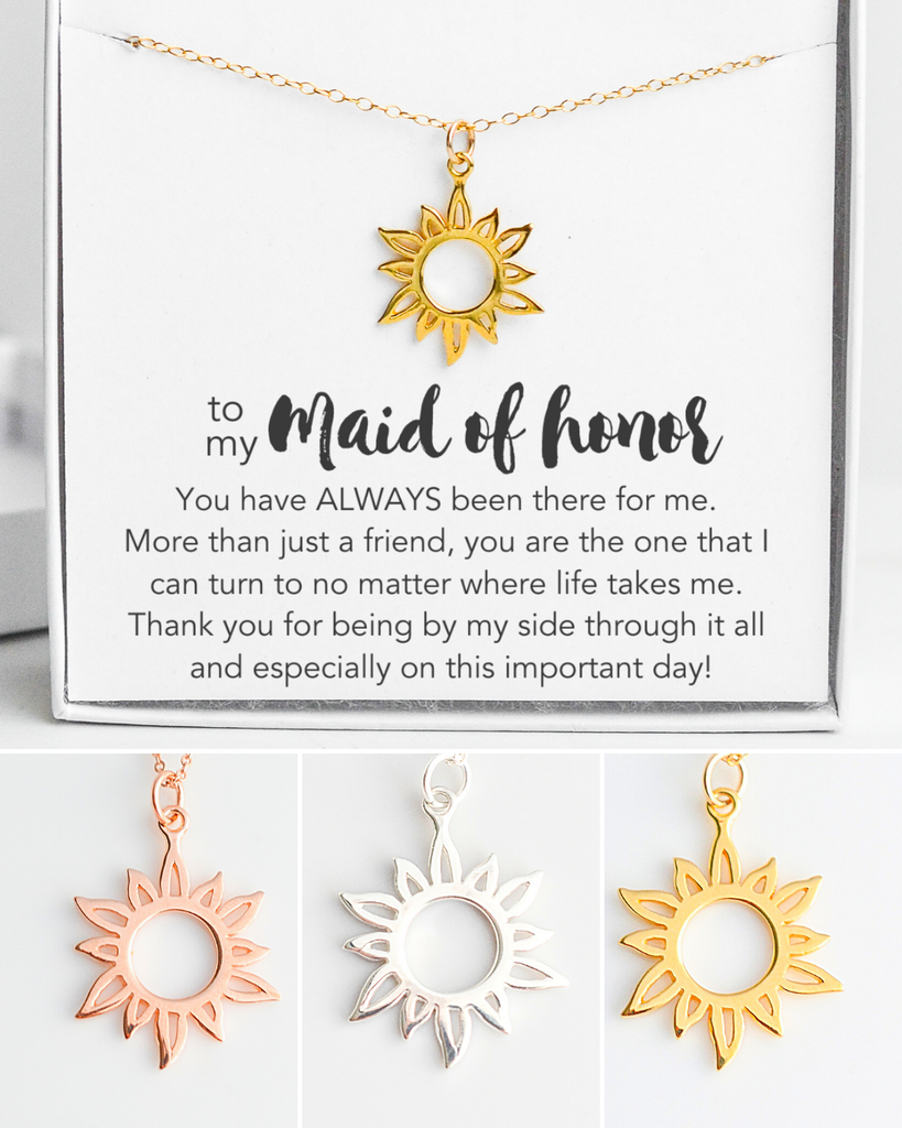 Maid of Honor Sun Necklace