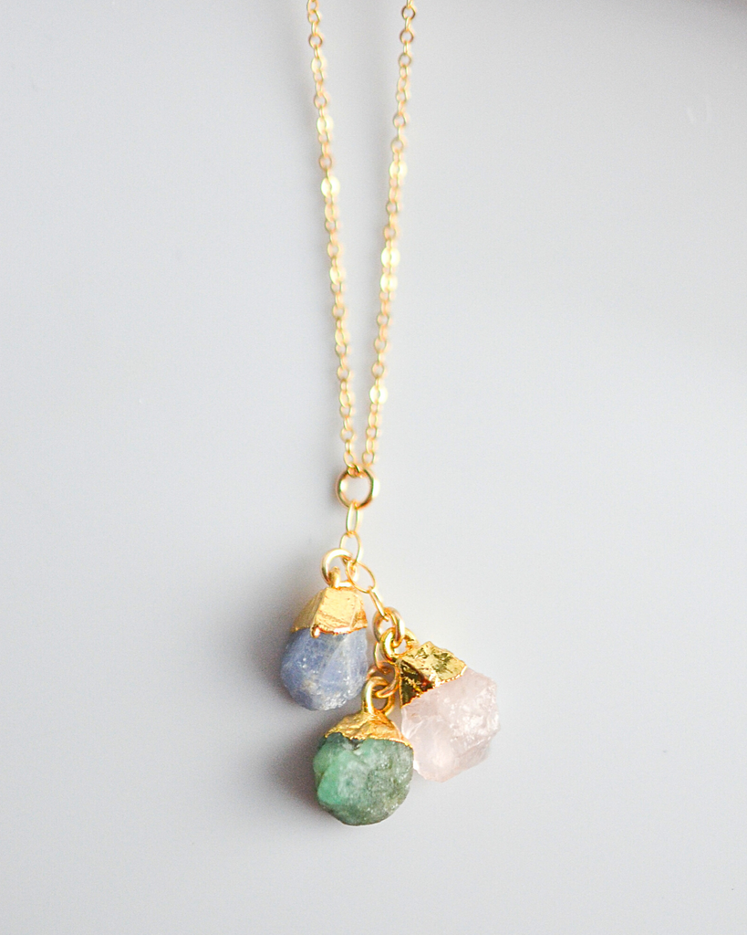 Three Birthstones Cluster Necklace