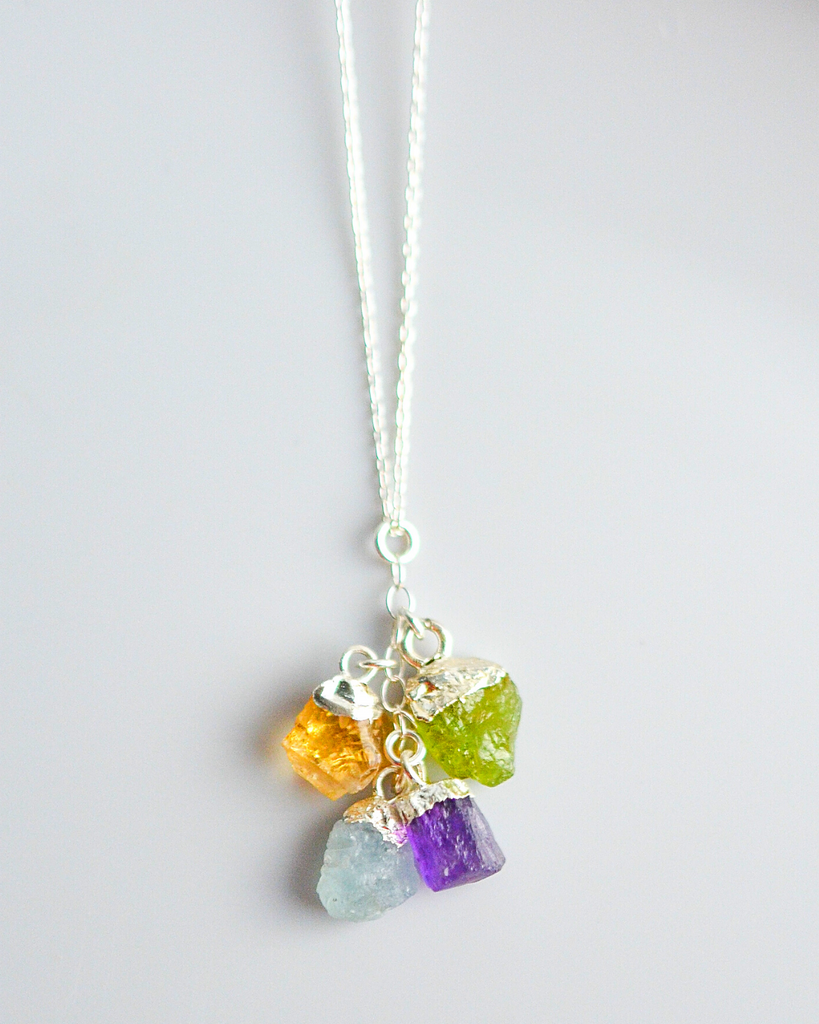 Sister Birthstone Cluster Necklace