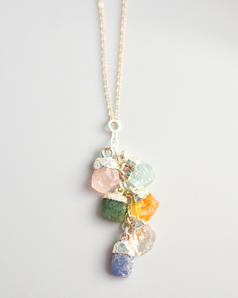 Grandma Birthstone Cluster Necklace