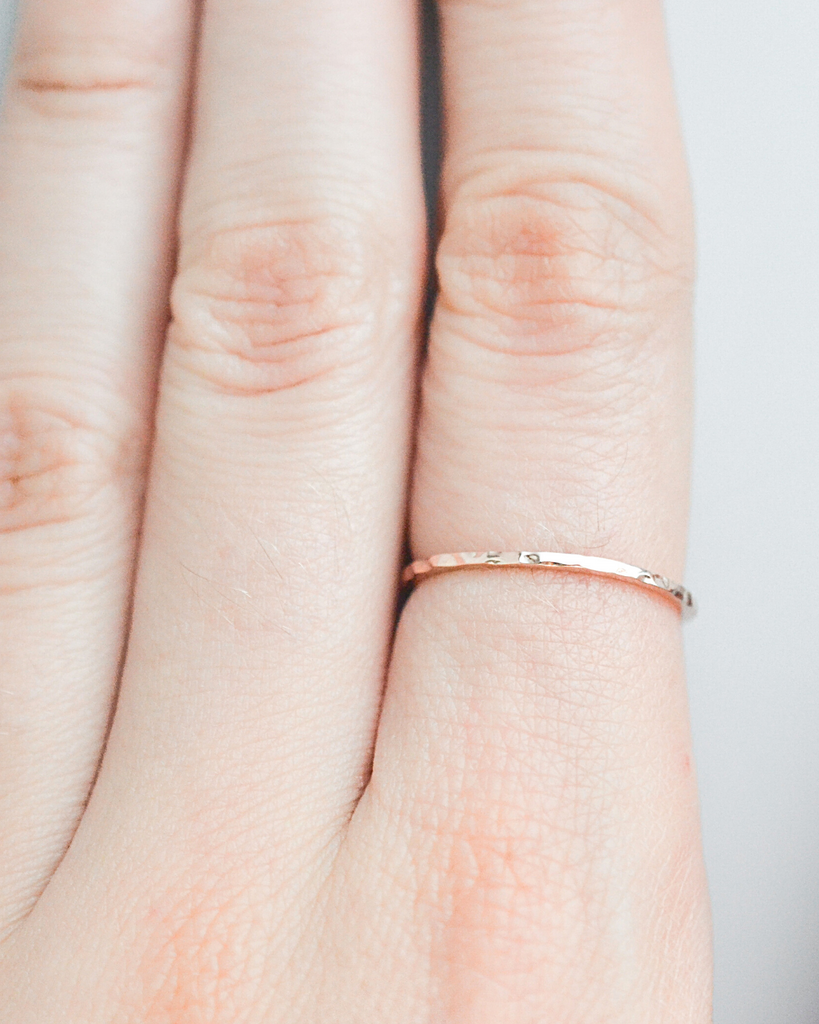 Thin Band Hammered Ring
