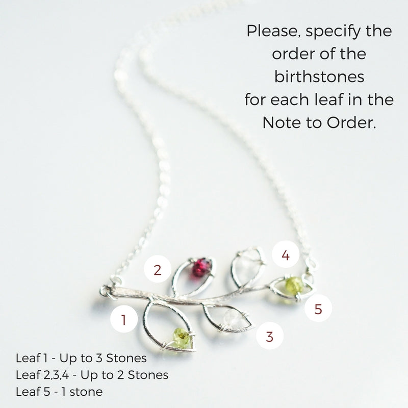 Silver Family Tree Birthstone Branch Necklace