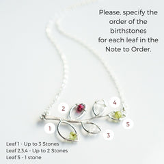 Silver Family Tree Birthstone Necklace