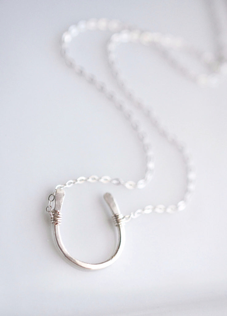 Sterling Silver Hammered Horseshoe Necklace