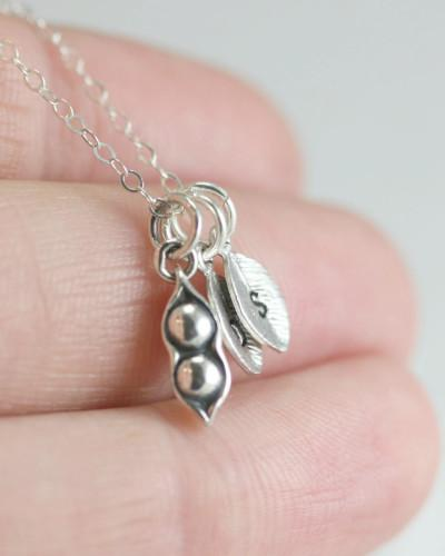 Sterling silver two peas in a pod necklace