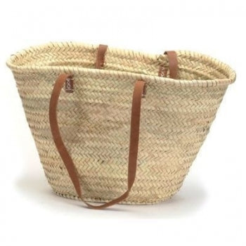 Straw Market Bag with Leather Handles
