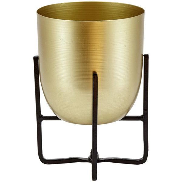 Brass Planter with Black Stand