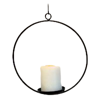 Iron Hanging Pillar Candle Ring