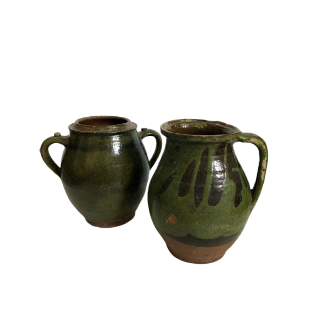 European Antique Green Olive Pot
