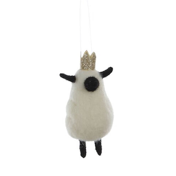 Wool Felt Sheep With Crown Ornament