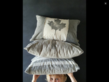 Hand-Printed Canadian Flag Pillow