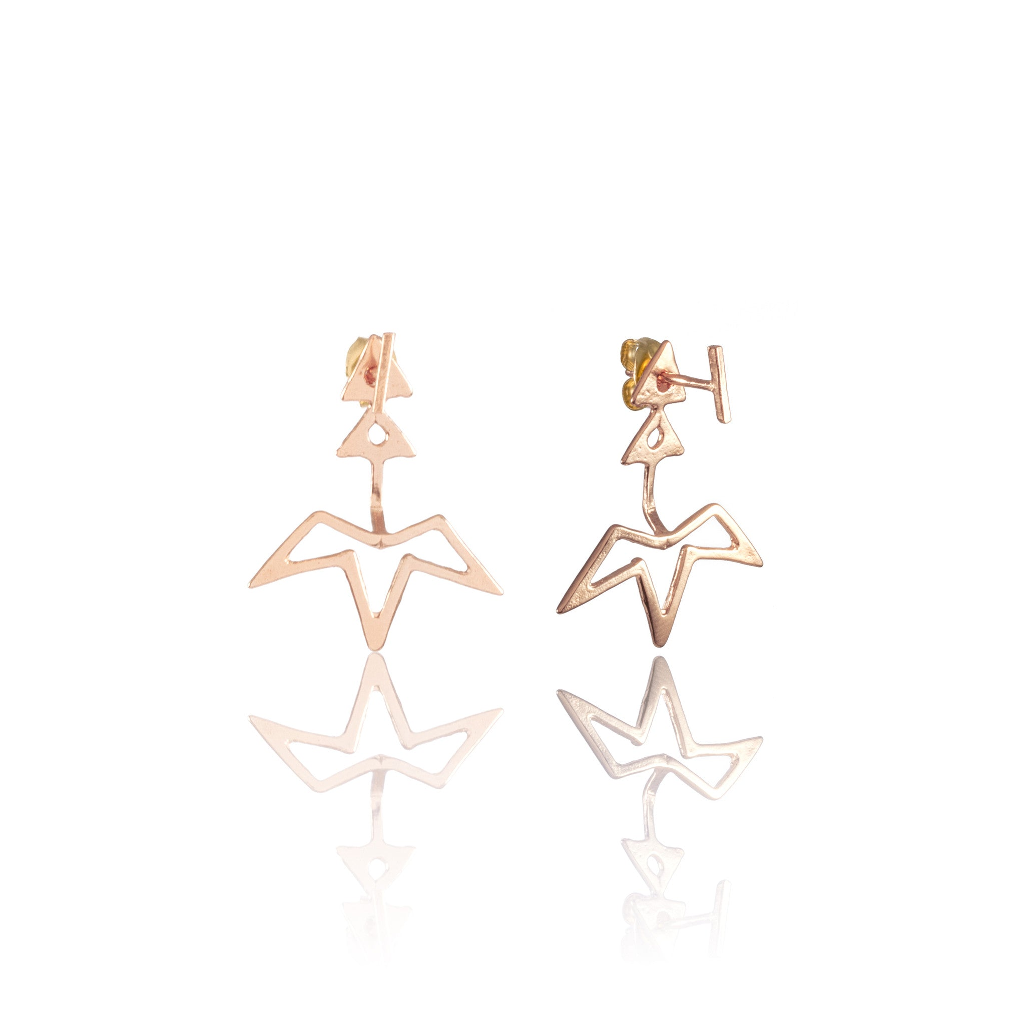 Spur Ear Jacket + Mini Ingot Post Earrings