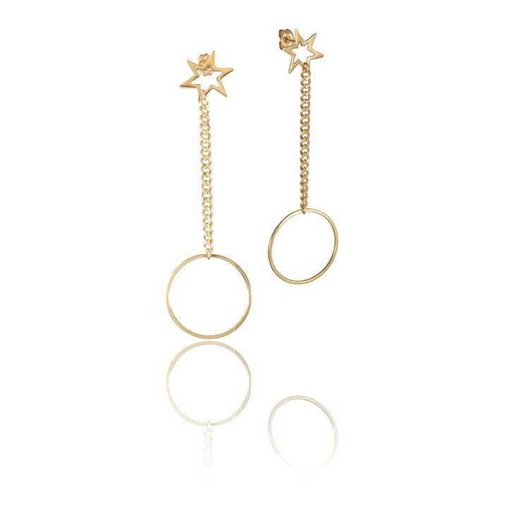 Starburst Pi Drop Studs - The Pi Collection - Minimalist star drop earrings