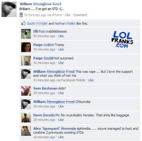 A Classic Funny Facebook Status Update Prank On A Girls Facebook Page