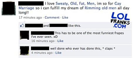 When His Friends Got A Hold Of His Facebook They Linked To Funny And Weird Pages In The Status This A Great Example Of A Status Update Prank