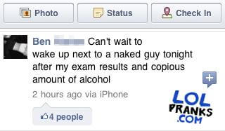 A Guy Gets Prank Hacked On Facebook With A Funny Status Update Claiming He Is Straight