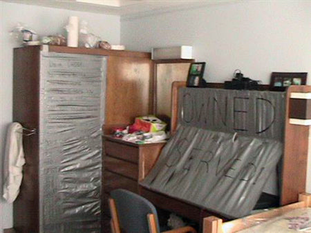 Duct Tape Funny College Dorm Desk Cupboard Prank