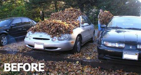 easy-car-prank-idea-fall-leaves-covered-funny