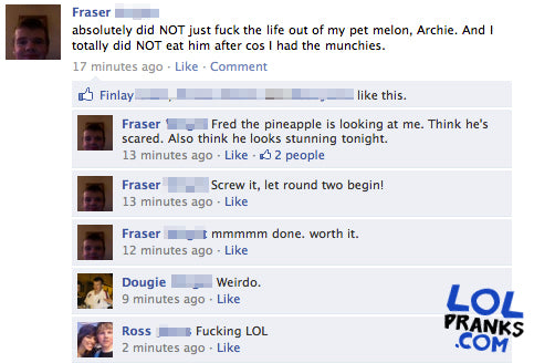 Funny Facebook Example Print Screen Status