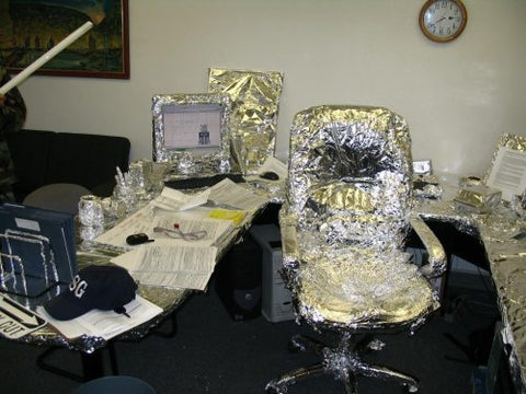 Funny Imature Tin Foil Office Desk Prank Wrapped