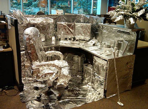 office-chair-desk-computer-wrapped-up-in-tin-foil-co-worker-funny-clever-prank