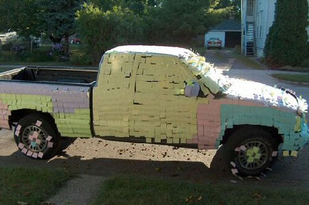 truck-car-funny-prank-post-it-notes-covered-mates-trick-hilarious-ideas