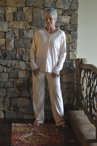 L/S Full Button PJ with Satin Trim