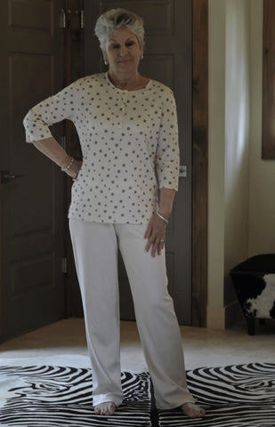 L/S Henley PJ with Mocha Dots