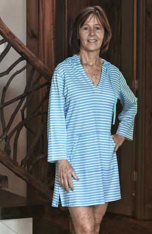 Bella Cotn Harbour Stripe PJ Hooded Tunic