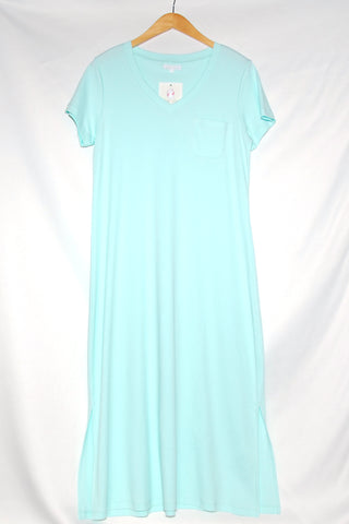 Short Sleeve Long Gown with Pocket