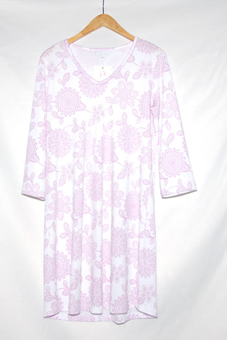 3/4 Sleeve Sleepshirt-Floral & Piping