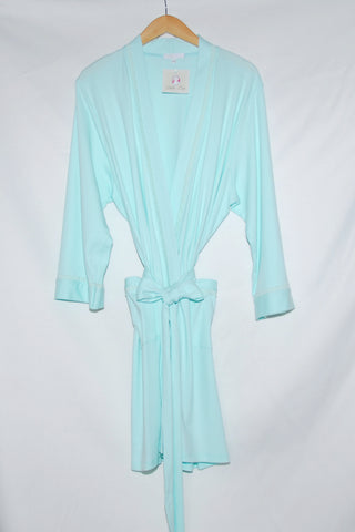 Short Kimono Robe-Solid with Lace Trim