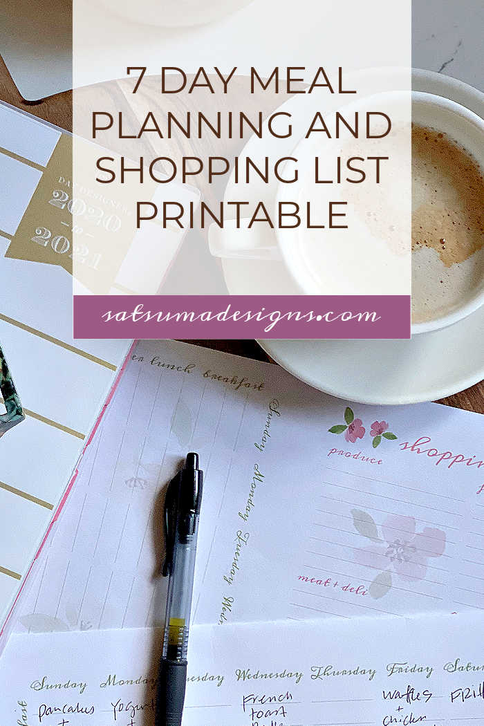 Springtime 7 Day Meal Planning and Shopping List Printable