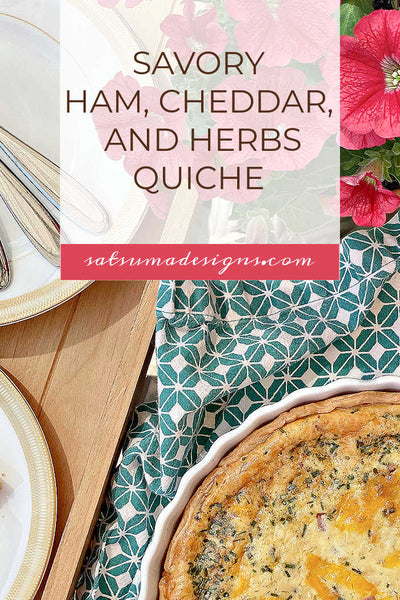 Fast and Savory Ham, Cheddar, and Garden Herbs Quiche